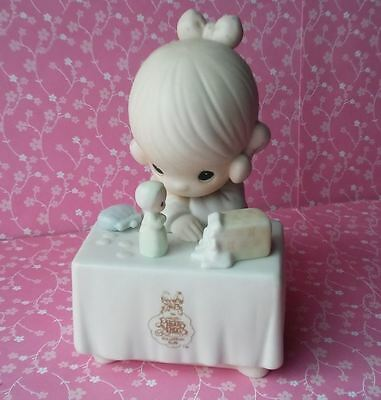 "Precious Moments MY HAPPINESS Porcelain Figurine 6"" 1989 Enesco Girl w/ Doll"