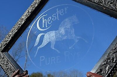 VINTAGE 1900's CHESTER PURE RYE WISKEY ETCHED GLASS SIGN W/ STALLION HORSE RARE!