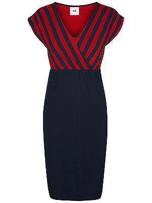 BNWT Mamalicious Maternity Nursing Breastfeeding Dress Navy Stripe  Size 14