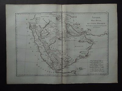 1787 BONNE  Atlas map  ARABIE, MER ROUGE, GOLFE PERSIQUE - Arabian Peninsula