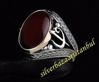 Turkish 925 Sterling Silver Agate aqeeq Stone Mens Ring Sz 12 us  free resize