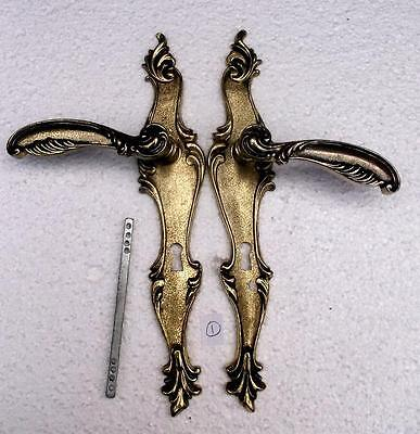 Pair of French Brass Plated Rococo Door Finger Plates & Handles 1st of 2 Pairs
