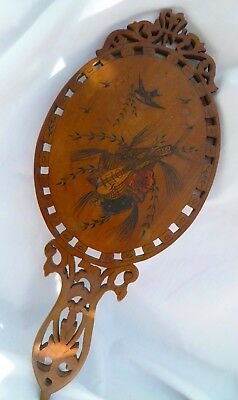 Antique Italian Sorrento Ware Wooden Hand Mirror Pierced & Inlaid Decoration