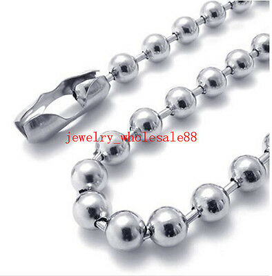 Lot of 5pcs Silver stainless steel Smooth Round Ball chain Necklace 6mm 21.6''