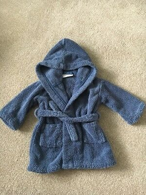 THE LITTLE WHIT COMPANY - Baby Boys Blue  Towelling Dressing Gown - Size 12-18