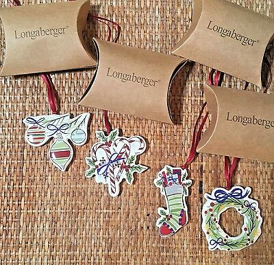 NIB Longaberger Set of 4 All the Trimmings Christmas Tree Ornaments/Gift Tie-Ons