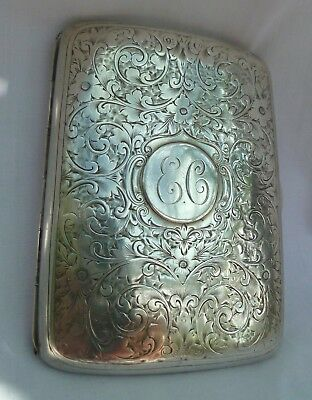 103 grams 1898 SOLID STERLING SILVER CIGARETTE CASE ANTIQUE VICTORIAN LADY'S