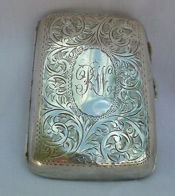 48 grams 1913 SOLID STERLING SILVER CIGARETTE CASE ANTIQUE T H HAZELWOOD B'HAM