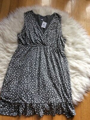 Motherhood Maternity Oh Baby Nursing Night Gown Pajamas Grey Heart Print Nwt XL