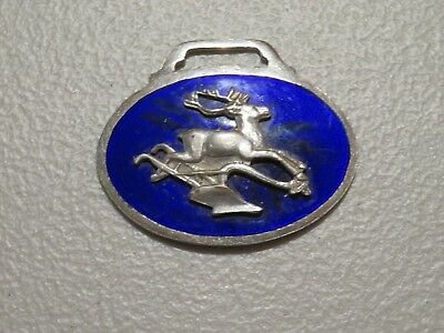 Rare ROYAL BLUE Enamel JOHN DEERE Pocket Watch Fob  - Deer Jumping Plow