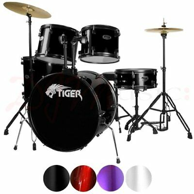 Tiger Full Size Drum Kit - 5 Piece Beginners Drum Kit,  Sticks & Stool