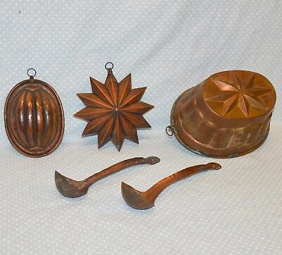 LOTTO 5 pz ANTICO STAMPO rame FORMINA epoca 900 BUDINIERA OLD copper MOLD CUCINA