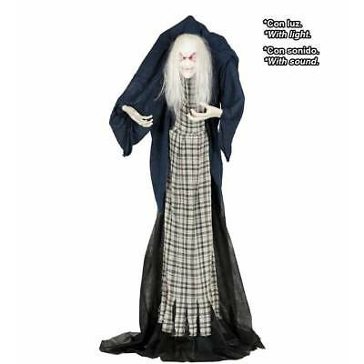 Lifesize Animated Light Up Hunched Scary Old Lady Halloween Decoration Prop