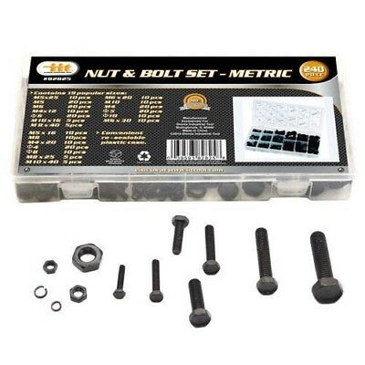 240pc IIT Metric Nuts & Bolts Assortment Washers Hex Machine Automotive 82825