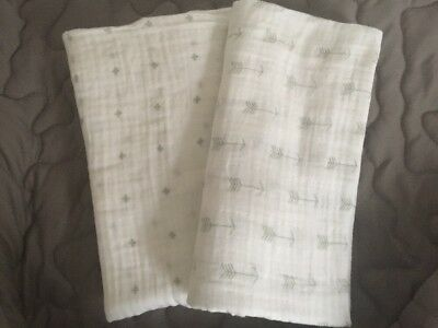 Ziggy Baby Muslin Swaddle Blanket, Grey/White, Lot Of 2