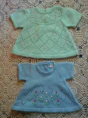 Vintage Two Baby Girl's Three Back Button Down Sweaters Green Blue