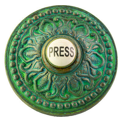 PRESS Porcelain Door Bell Button Electric Victorian Brass Aged Tiffany Green
