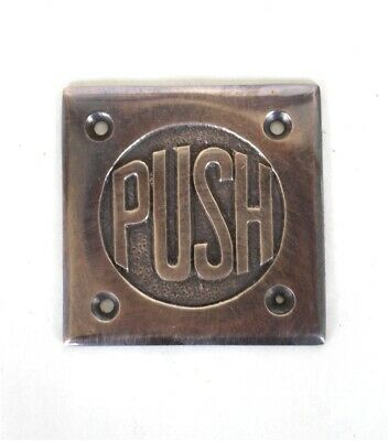 Small PUSH Door Plate in Dark Oil Rubbed Aged Bronze Finish