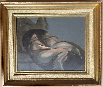 Vintage Mid Century Modern Androgynous Cuddling Nude Gay Lesbian Int Painting
