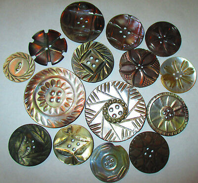 Lot 15 Antique Mother of Pearl Buttons - Intricate Deeply Carved Smokey M-LG SZ