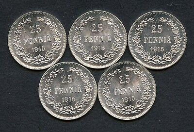 Russia Finland Lot 5 Coins 25 Pennia 1915 Luster UNC Condition !!!