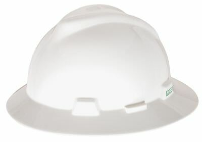 "MSA Full Brim Hard Hat, White, Hat Size: 6-1/2 to 8"" - 475369"