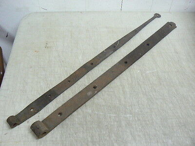 Large Antique 19th Century Hand Forged Wrought Iron Strap Hinges, Heavy Duty!