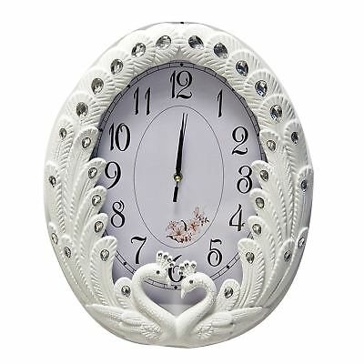 Wall Swans Clock in White/Cracked Design