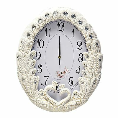 Wall Swans Clock in White/Gold Design