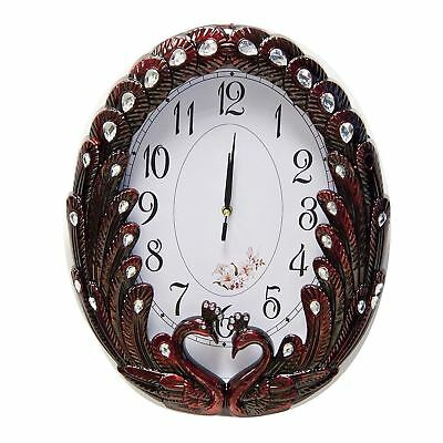 Wall Swans Clock in Red Color