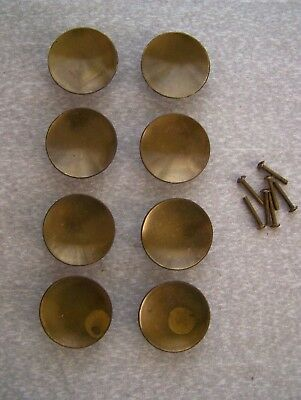 8 Vintage Brass Plated Round Concave Drawer Cupboard Pulls Handles Ferum Italy