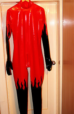 Neu Latex Overall Catsuit Rot Schwarz Flammenmuster Full Cover