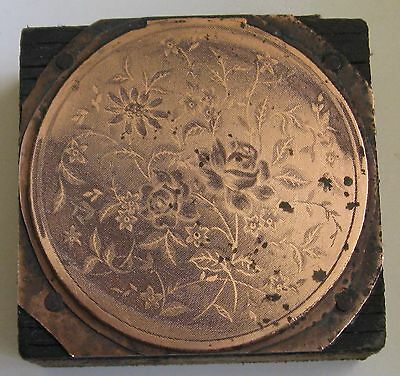 Antique / Vintage Bronze Letterpress Printing Block Flowers