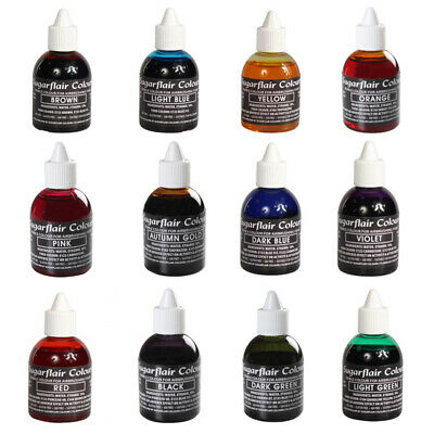 10 x Sugarflair Edible Airbrush Food Color Liquid For Cake Sugarcraft Decorating