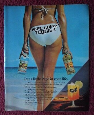 1977 Print Ad PEPE LOPEZ Tequila ~ Sexy Girl on the Beach Bikini Backside