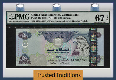 "TT PK 32c 2008 UNITED ARAB EMIRATES 500 DIRHAMS ""SPARROWHAWK"" PMG 67 EPQ SUPERB"