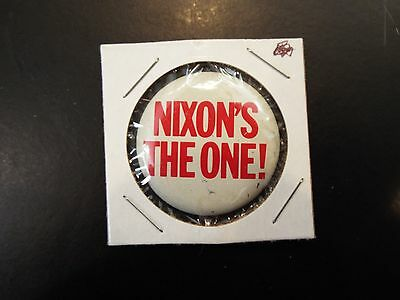"""Nixon's the One"" Richard Nixon Presidential Vintage Campaign Button 1968"