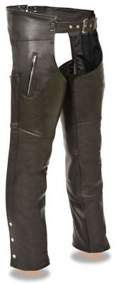 Milwaukee Leather Mens Chaps w/Zippered Thigh Pockets Black