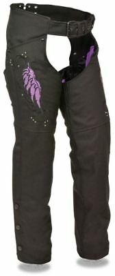 Milwaukee Leather Womens Textile Chaps w/ Wing & Rivet Detailing Purple
