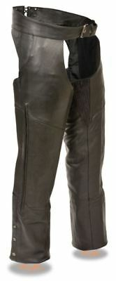 Milwaukee Leather Mens Vented Chaps w/Stretch Thighs Black
