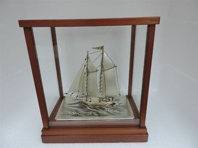 Fine H-Crafted Japanese Two Masted Solid Sterling Silver Model Ship Yacht Japan