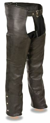 Milwaukee Leather Mens Fully Lined Naked Cowhide Chaps Black