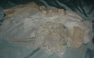 Antique Fabric Scraps Cotton Broderie Anglaise Crochet Lace Trim Braid c1900-30s