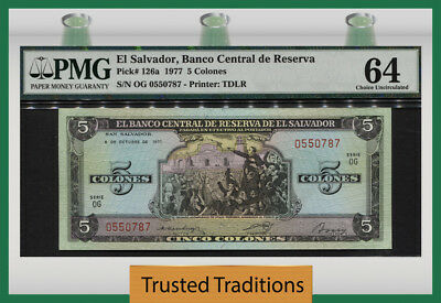 "TT PK 126a 1977 EL SALVADOR 5 COLONES ""BANCO CENTRAL DE RESERVA"" PMG 64 CHOICE"