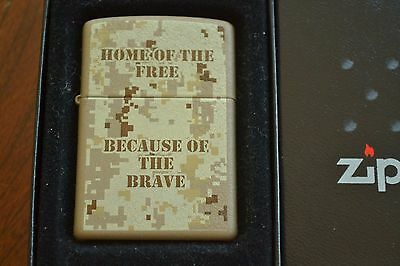 ZIPPO Lighter, 24351 Home of the Free Because of the Brave, Cashmere Sealed M966