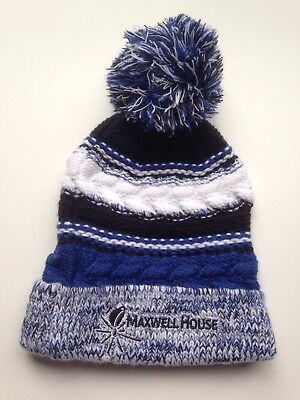 Winter Hat Men's or Women's Maxwell House New Beanie Hat Blue Promo Item