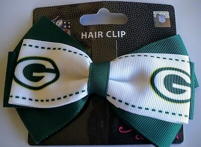 Green Bay Packers Football Team Logo NFL Grace Collection 2 Tone Bow Hair Clip