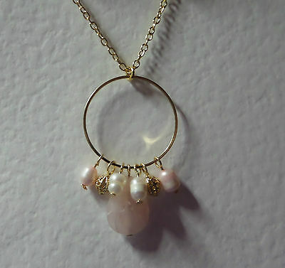 "PINK AGATE & FWP PEARL DANGLY HOOP NECKLACE GOLD PLATED 18"" 45 cm + EXT"