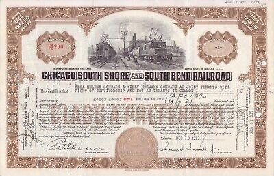 1929 Chicago South Side and South Bend Railroad Co  w/ Samuel Insull signature