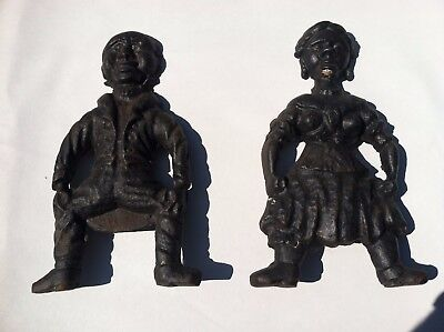 Very RARE!   Antique Cast Iron Andirons  BLACK AMERICANA  Male & Female Figures